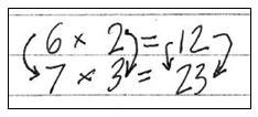 image of a photocopy of student's math work